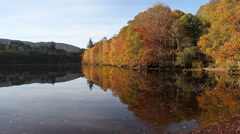 Stock Video Footage of Autumn colours reflected in Loch Faskally Pilochry Scotland