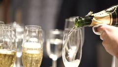 Glasses Of Champagne Banket Dinner Public Function Party Wedding Restaurant Stock Footage