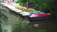 Paddle Boats Pond In Chinese Forest Stock Footage