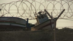 Ship graveyard in Lampedusa (3) Stock Footage