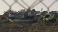 Ship graveyard in Lampedusa (2) Stock Footage