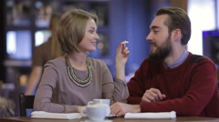 Stock Video Footage of Young happy couple romantic date at restaurant