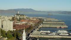 Aerial view San Francisco California USA Port Terminal boat Pier Stock Footage
