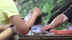 Card Gamrs At Forest Tea House Chengdu China Stock Footage