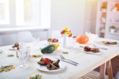 Table served for guests - stock photo