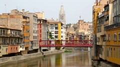Top view of Girona in day - stock footage