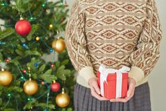 Christmas present in hands Stock Photos