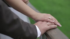 Hands bride and groom Stock Footage
