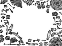 Big set of painted aftermarket spare parts for cars Stock Illustration
