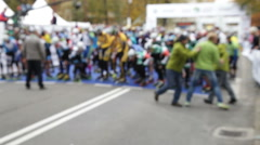 Riders on roller skates before start, blur and motion effect Stock Footage