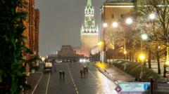 Moscow, Spasskaya tower of Kremlin at winter night. timelapse Stock Footage