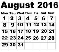 August Calendar 2016 - stock illustration