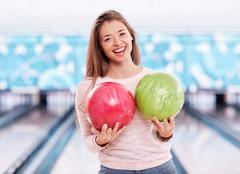 Bowling girl Stock Photos