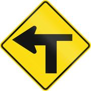 New Zealand road sign - T Junction controlled (priority turns left) - stock illustration