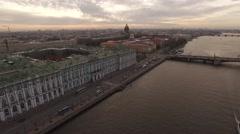 Aerial Saint Petersburg State Hermitage Museum Vasilyevsky Island River Neva. Stock Footage