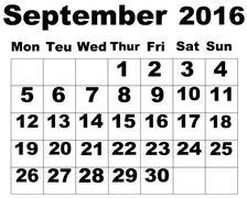 September Calendar 2016 - stock illustration
