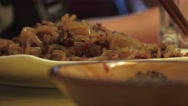Stock Video Footage of Eating Sichuan Noodles Close Up