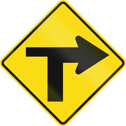 New Zealand road sign - T Junction controlled (priority turns right) - stock illustration