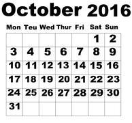 October Calendar 2016 - stock illustration