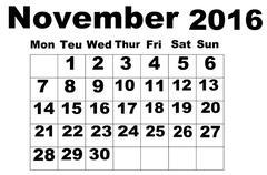 November Calendar 2016 - stock illustration
