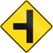 New Zealand road sign - Side road junction uncontrolled on left - stock illustration