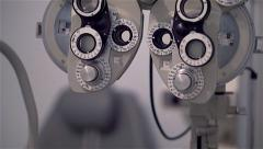 Close up of  and details of a phoropter in an optician studio Stock Footage
