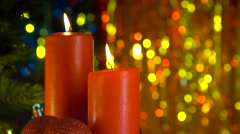 Christmas scene of burning red candles Stock Footage
