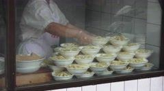 Stacks Of Noodle Bowls In Window Chengdu China Stock Footage