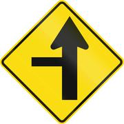 New Zealand road sign - Side road junction controlled on left Stock Illustration