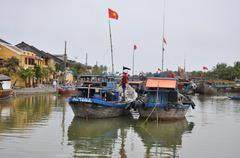 The trading port of Hoi An city, Vietnam - stock photo