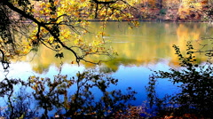 Colorful fall foliage reflects in the Lake on an autumn day - stock footage