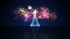 Glass christmas tree and fireworks loop animation 4k (4096x2304) Stock Footage