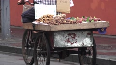 Vegetable and Potato on Back of Vendors Tricycle Stock Footage