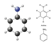 Structural chemical formulas and model of aniline molecule - stock illustration