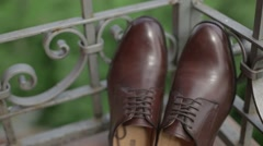 Male brown shoe in the gallery  Stock Footage
