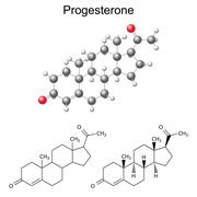 Structural chemical formulas and model of progesterone molecule - stock illustration