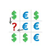 Concept of the exchange rate of dollar and euro Stock Illustration