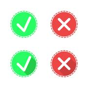 Positive and negative check mark icons - stock illustration