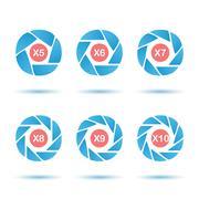 Aperture icon set Stock Illustration