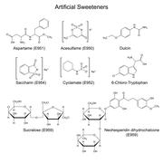 Stock Illustration of Chemical formulas of artificial sweeteners