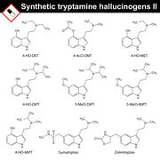 Artificial tryptamine hallucinogens, second set - stock illustration