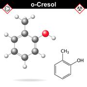Cresol molecule, ortho-cresol isomer - stock illustration