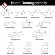 Nasal decongestant agents - stock illustration
