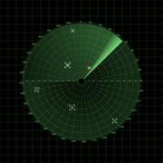 Radar screen on grid - stock illustration
