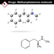 Methamphetamine  recreational drug molecule Stock Illustration