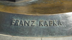 Franz Kafka monument in Prague Stock Footage
