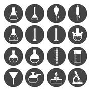 Lab equipment icon set Stock Illustration