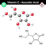 Ascorbic acid molecule, vitamin C - stock illustration