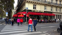 Stock Video Footage of A cozy cafe in the heart of Paris. 4K.