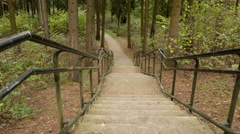 Stairs to the bottom. Autumn daytime. Smooth dolly shot. Stock Footage
